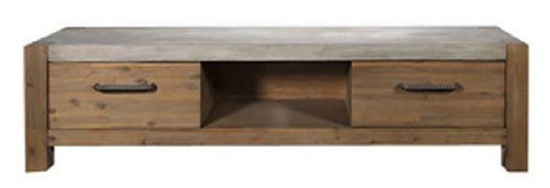 MIDWEST TV UNIT WITH 2 DRAWER  -  1800(W) - CEMENT TOP