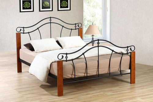 DOUBLE IRIS TIMBER & METAL BED - ANTIQUE OAK / BLACK