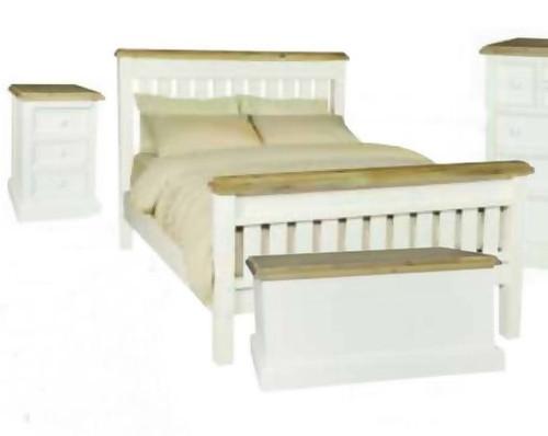 BARRITZ QUEEN 3 PIECE BEDSIDE BEDROOM SUITE -  2  TONE BED - WEATHERED OAK / ICED WHITE