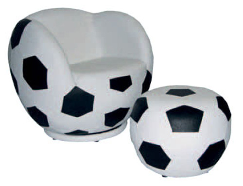 FOOTY CHAIR (QY-01) WITH OTTOMAN - BLACK AND WHITE