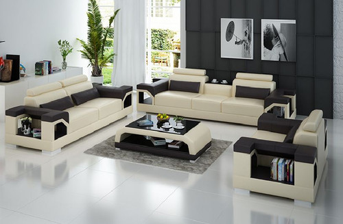 TREASURE LEATHERETTE  3 SEATER + 2  SEATER + 1 SEATER  LOUNGE SUITE WITH COFFEE TABLE (MODEL- G8010D)   - CHOICE OF LEATHER & ASSORTED COLOURS AVAILABLE
