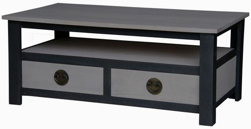 IRVINE 2 DRAWER COFFEE  TABLE (CT 002 IR) - 450(H) X 1100(W) X 600(D) - IRON ANTIQUE WASHED