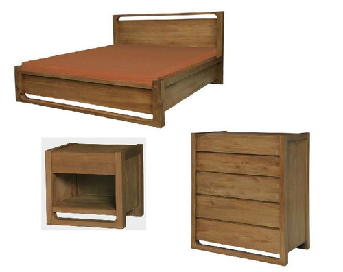 SCANDINAVIAN QUEEN  4 PIECE PIECE TALLBOY  BEDROOM SUITE   -  CARAMEL