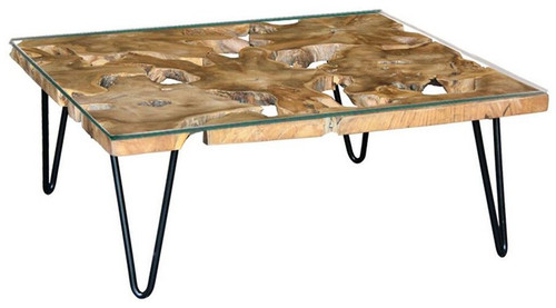 CONSARON   RECYCLED TIMBER COFFEE TABLE WITH GLASS TOP - 400(H) X 900(D) X 900(D) -NATURAL TEAK