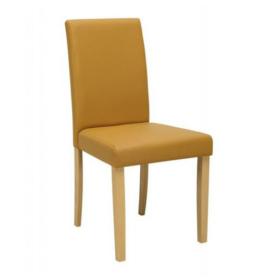 LENORE  MODERN LEATHERETTE DINING CHAIR (SET OF 2) -  CARAMEL