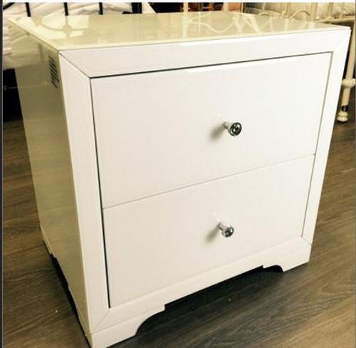 BOULEVARDE WHITE GLASS 2 DRAWER BEDSIDE TABLE - WHITE