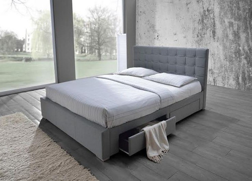 DOUBLE  SARAH  FABRIC BED WITH 4 UNDER BED  DRAWERS (MODEL-8497)  - GREY