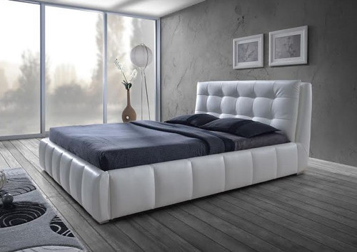 QUEEN DEBARO  LEATHERETTE   BED - BLACK OR WHITE