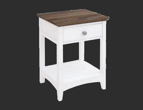 HABIBA 1 DRAWER BEDSIDE TABLE  (2-18-9-20-20-1-14-25)  - WHITE / DARK WENGE