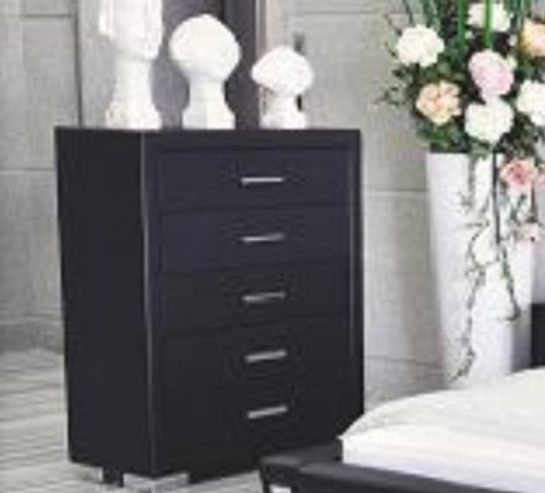 TOORAK (WD-05) 5 DRAWER TALLBOY - BLACK