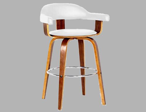 MILAN BENTWOOD BAR STOOL - SEAT -680(H) - WHITE + WALNUT