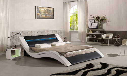 KING  KALIDON  LEATHERETTE BED  WITH  LED LIGHT (CD007) - ASSORTED COLORS