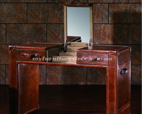 ELEGANTE  GENUINE LEATHER DRESSER WITH MIRROR  - 780(H) X 1300(W)  - ASSORTED COLOUR