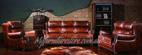 PREMIER   3S + 1S +1S  VINTAGE FULL LEATHER LOUNGE SUITE - ASSORTED COLOURS