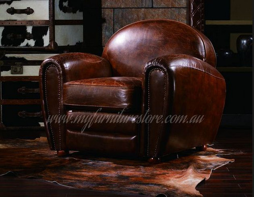BOLINGO  SINGLE SEATER  VINTAGE FULL LEATHER   CHAIR  - ASSORTED COLOURS