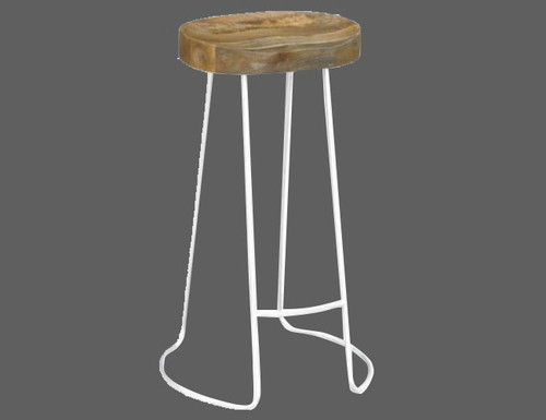 TRACTOR STOOL (WOST-004) - SEAT: 680(H) - WHITE  / NATURAL