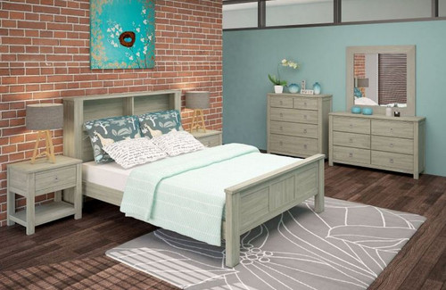 BEACHROAD KING  5 PIECE  BOOKEND DRESSER  BEDROOM SUITE (VBC-001) - SEASIDE