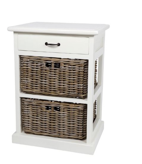 RATTAN STORAGE WITH 2 DRAWERS (RDB782) - WHITE / NATURAL