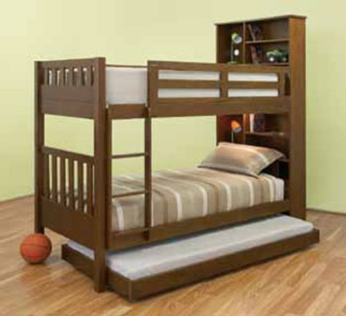 SINGLE MAYDEN  BUNK BED WITH SINGLE BUDGET TRUNDLE (MODEL 13-5-18-12-9-14) - WALNUT