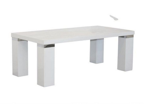 WAVERLEY COFFEE TABLE WITH CHUNKY  LEG & CHROME TRIM  -  1200(W) X 600(D)-HI GLOSS WHITE