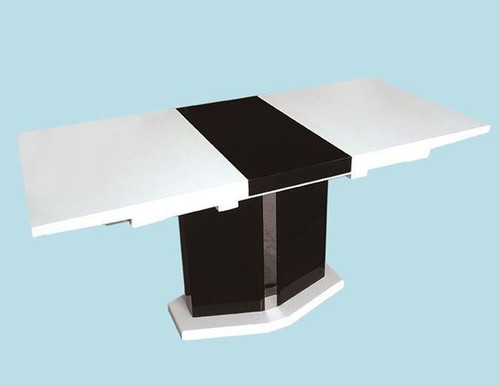 PROSPERO (OST0003) EXTENSION DINING TABLE ONLY - 1300MM CLOSED / 1700MM OPEN - WHITE / BLACK GLOSS