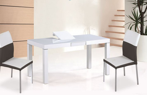 RENATO (OST0004) DROP - DOWN 9 PIECE  EXTENSION  DINING SETTING  (1600MM-2000MM ) -  WHITE  GLOSS TABLE
