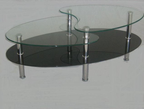 BENJI  GLASS COFFEE TABLE -   CLEAR / BLACK GLASS OR CLEAR / SANDBLAST