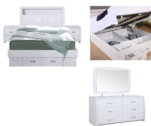 WAVERLEY DOUBLE OR  QUEEN GAS LIFT 5 PIECE DRESSER  BEDROOM  SUITE- HI GLOSS WHITE