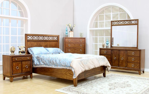 DENISE QUEEN 5  PIECE  DRESSER   BEDROOM SUITE (MODEL - 8211) - BROWN