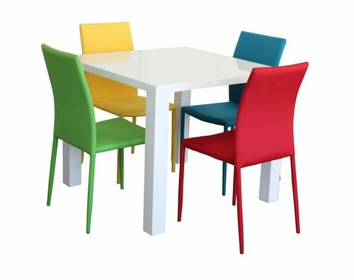 WAVERLEY  5 PIECE  SQUARE DINING SETTING WITH BLACK SVEN CHAIRS - 1000(L) x 1000(W) - GLOSS WHITE TABLE