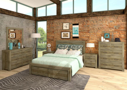 YARRA (VYR-004) KING 6 PIECE (THE LOT) BEDROOM SUITE WITH STORAGE DRAWERS - MOCCHA