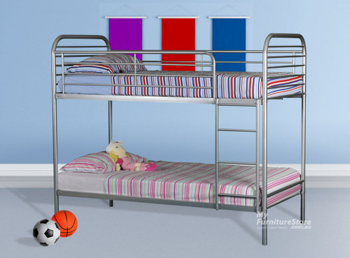 SINGLE CAMDEN BUNK WITH MATCHING SINGLE JENSON POP UP TRUNDLE BED - SILVER