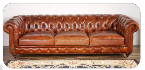 CHESTER (3) THREE SEATER  RUSTIC LEATHER SOFA (MODEL - AD3009-3S)  BROWN