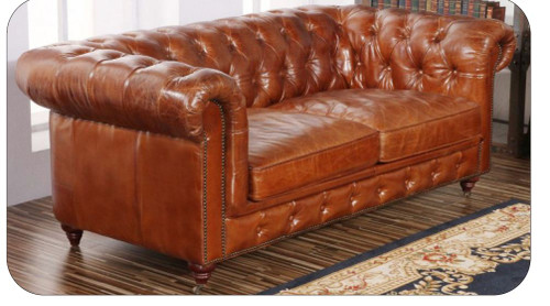 CHESTER TWO  (2) SEATER  RUSTIC LEATHER SOFA (MODEL - AD3009-2S)  BROWN