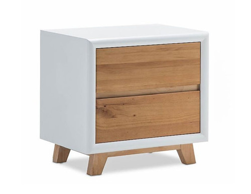 PARKER 2 DRAWER BEDSIDE TABLE (1-18-9-5-12-12-5) - NATURAL / WHITE