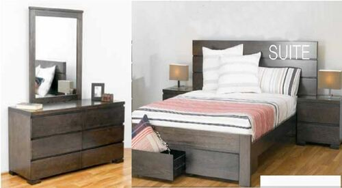 BENSON QUEEN  5 PIECE DRESSER  BEDROOM SUITE WITH 2 FOOTEND DRAWERS - SMOKE