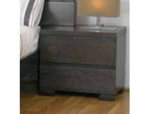 BENSON 2 DRAWER BEDSIDE TABLE  - SMOKE