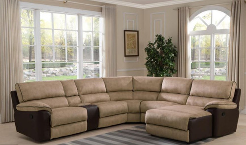STIRLING 5 SEATER CORNER  LOUNGE  WITH RECLINING CHAISE  -  CREAM / COFFEE