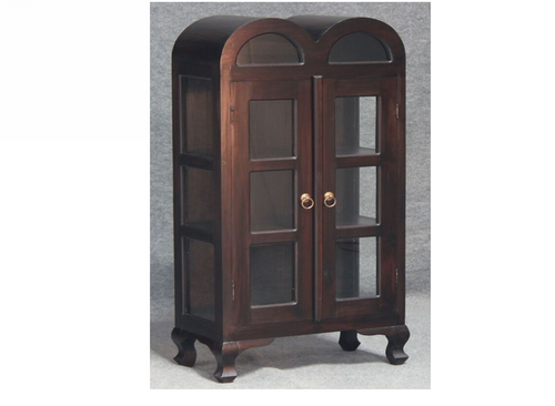 DOUBLE SMALL  DOME 1250(H) X 590(W) DISPLAY CABINET (DC 200 DDS) - CHOCOLATE OR MAHOGANY