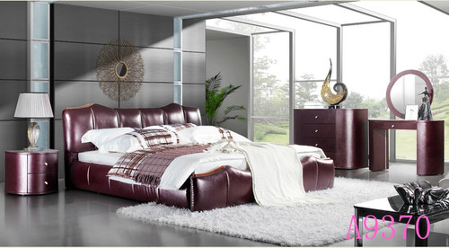 QUEEN BENTON  LEATHERETTE  BED  (MODEL - A9370) - ASSORTED COLORS  (MADE TO ORDER)