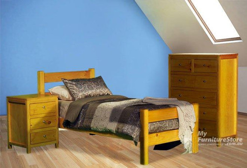 CHUNKY SINGLE OR KING SINGLE 3 PIECE BEDROOM SUITE - ASSORTED COLOURS