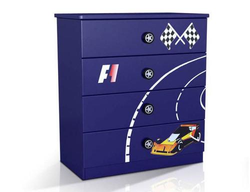 F1 (MODEL 1105-264B) 4 DRAWER TALLBOY -  960(H) X 860(W) -BLUE