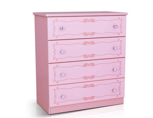 BLUSH (MODEL 1105-264) 4 DRAWER TALLBOY - 960(H) X 860(W)-PINK
