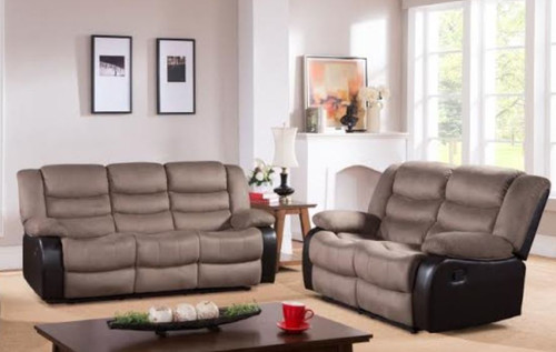 DAKOTA 3RR + 2RR FABRIC  RECLINER SUITE (DAKRR3RR2)  - CARAMEL/ BROWN