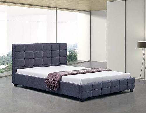 DOUBLE  DELUXE FABRIC LINEN  TUFTED BED -  GREY