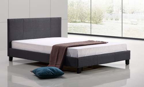 DOUBLE PALERMO  FABRIC  LINEN  BED  (ING-DBFB-FAB-840)  - GREY