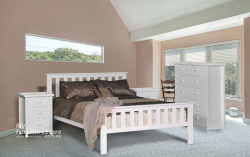 FEDERATION DOUBLE OR QUEEN 4 PIECE TALLBOY BEDROOM SUITE (WITH MATCHING FOOT) - WHITE