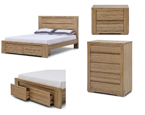 AKONI QUEEN 4  PIECE  TALLBOY  BEDROOM SUITE - (10-1-13-5-12) - NATURAL