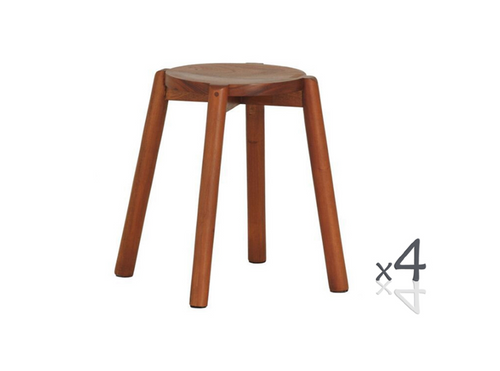 WILLOW (BR048RO) WOODEN ROUND BARSTOOL / KITCHEN BENCH  (4 UNITS IN A BOX) - SEAT: 480(H) - MAHOGANY, LIGHT PECAN, CHOCOLATE