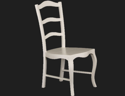 FRENCH PROVINCIAL DINING   CHAIR  WITH TIMBER SEAT   - WHITE